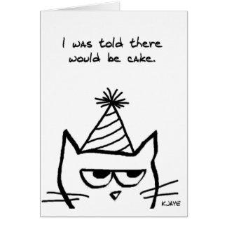 Angry Cat Hates Birthdays Card
