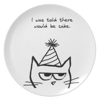 Angry Cat Hates Birthdays - Funny Cat Plate