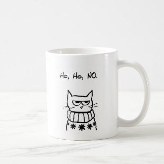 Angry Cat in a Christmas Sweater - Funny Cat Xmas Basic White Mug