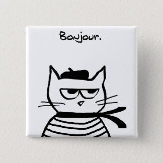Angry Cat is So Very French 15 Cm Square Badge