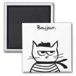 Angry Cat is So Very French Square Magnet
