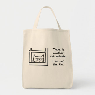 Angry Cat Sees Another Cat - Funny Cat Tote