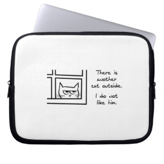 Angry Cat Sees Another Cat - Funny Laptop Sleeve