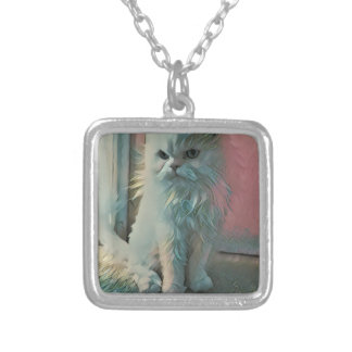 Angry Cat Silver Plated Necklace