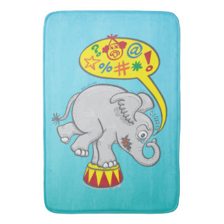 Angry circus elephant saying bad words bath mat