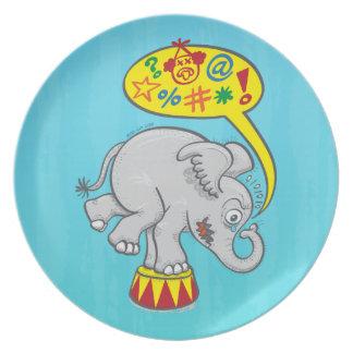 Angry circus elephant saying bad words plate
