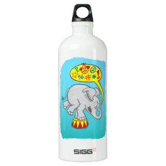 Angry circus elephant saying bad words water bottle