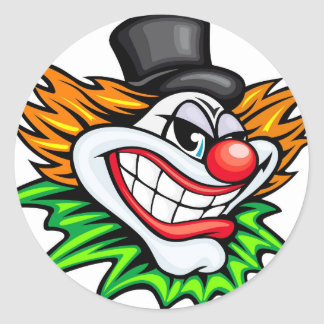Angry Clown Deisgn Classic Round Sticker