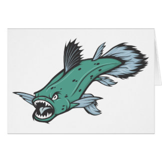 Angry Coelacanth Fish Card