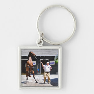 Angry Curlin Baby Silver-Colored Square Key Ring