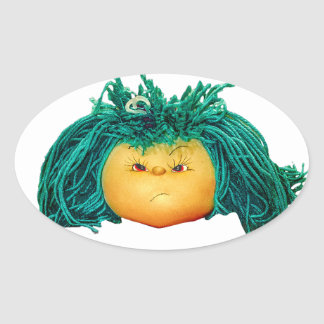 Angry Doll Oval Sticker