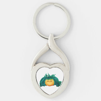 Angry Doll Silver-Colored Twisted Heart Key Ring
