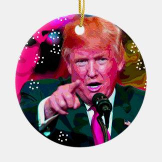 """Angry Donald Trump """"Fake News"""" Christmas Ornament"""