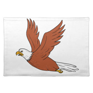 Angry Eagle Flying Cartoon Placemat