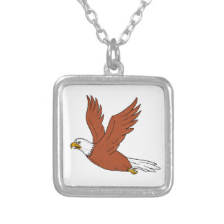Angry Eagle Flying Cartoon Silver Plated Necklace