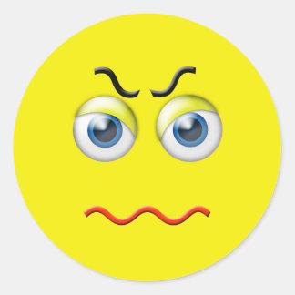 Angry Emoji Classic Round Sticker