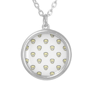 Angry Emoji Graphic Pattern Silver Plated Necklace