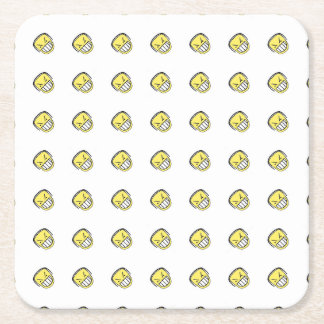 Angry Emoji Graphic Pattern Square Paper Coaster