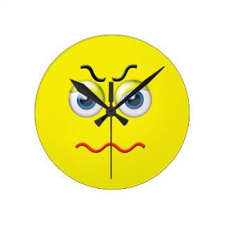 Angry Emoji Round Clock