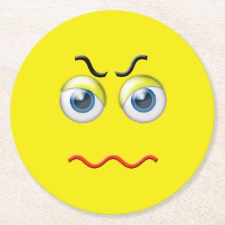 Angry Emoji Round Paper Coaster
