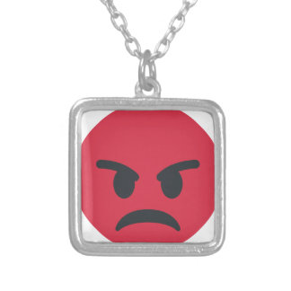 Angry Emoji Silver Plated Necklace