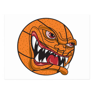 angry extreme basketball character postcard