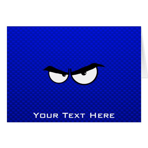 Angry Eyes; Blue Greeting Cards