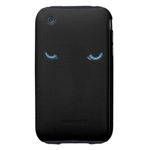 Angry Eyes Feline iPod Black Case iPhone 3 Tough Case