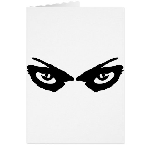 angry eyes icon greeting card