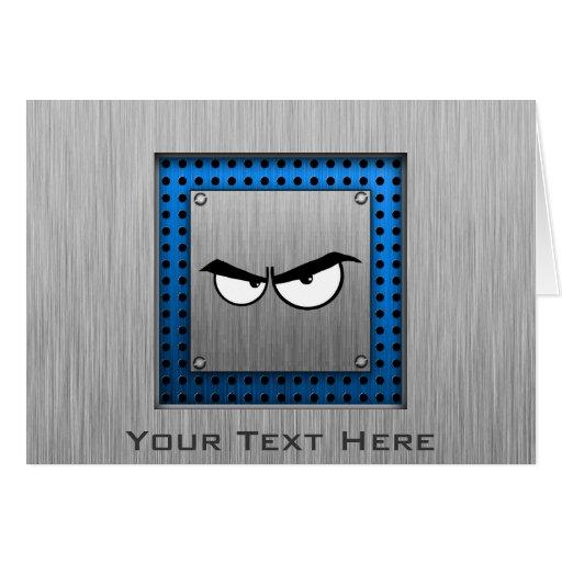 Angry Eyes; Metal-look Greeting Card