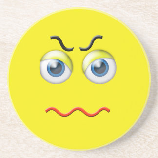 Angry Face Emoji Drink Coaster
