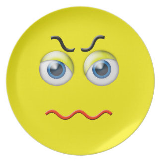 Angry Face Emoji Plate