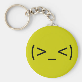 Angry Face (Japanese Smiley) Basic Round Button Key Ring