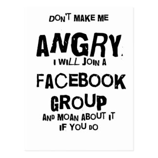 angry facebook postcard