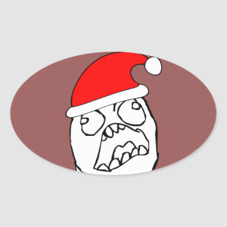 Angry FFFUUU xmas meme Oval Sticker