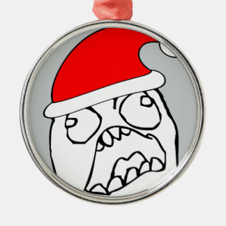 Angry FFFUUU xmas meme Silver-Colored Round Decoration