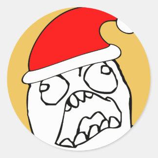 Angry FFFUUU xmas meme Classic Round Sticker