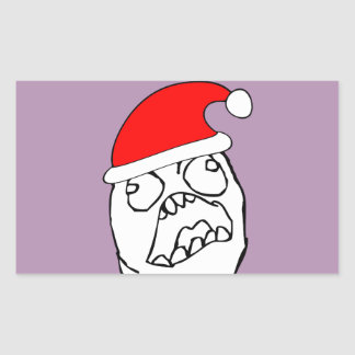 Angry FFFUUU xmas meme Rectangular Sticker