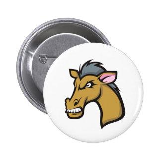 Angry Fierce Cartoon Horse Pinback Buttons