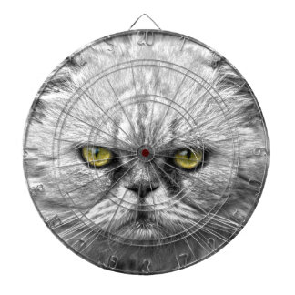 Angry Golden Cat Eyes Dartboard With Darts