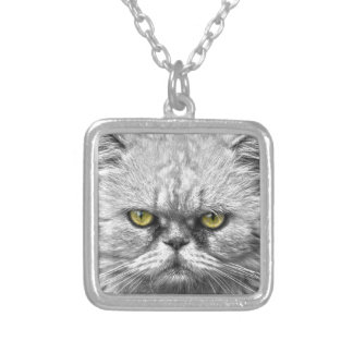 Angry Golden Cat Eyes Silver Plated Necklace