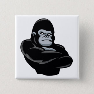 angry  gorilla 15 cm square badge
