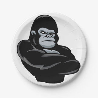 angry  gorilla 7 inch paper plate