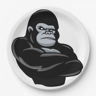 angry  gorilla 9 inch paper plate