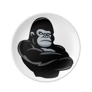 angry  gorilla porcelain plates