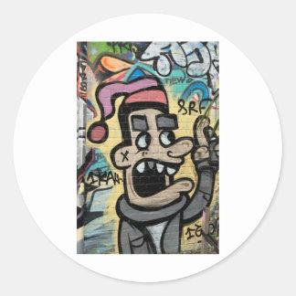 Angry Graffiti Man Round Sticker