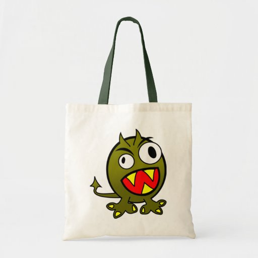 Angry Green Monster Tote Bags