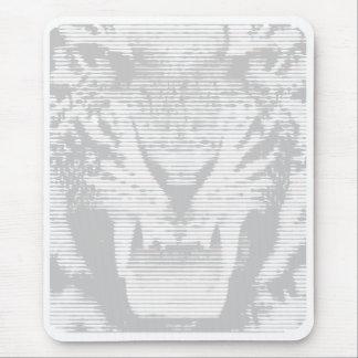 Angry Grey Tiger Horizontal Lines Mouse Pad