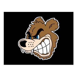 angry growling bear face postcard