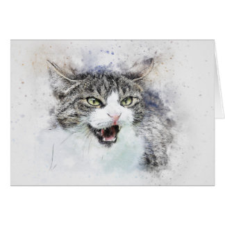 Angry Kitty | Abstract | Watercolor Card